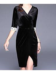 Dámské Sexy Běžné/Denní A Line Šaty Jednobarevné,Polodlouhé rukávy Do V Délka ke kolenům Polyester Podzim Mid Rise Lehce elastické