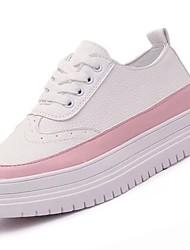 Feminino Sapatos Couro Ecológico Inverno Conforto Tênis Sem Salto Ponta Redonda para Casual Preto Cinzento Rosa claro