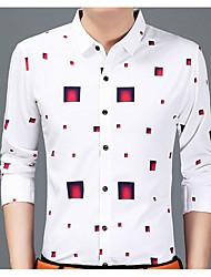 Masculino Camisa Social Casual Temática Asiática Primavera Outono,Estampado Algodão Colarinho de Camisa Manga Comprida Média