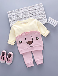 cheap -Girls' Daily Going out Cartoon Clothing Set, Cotton Acrylic All Seasons Long Sleeves Cute Casual Active Blushing Pink Light Green Light