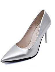 preiswerte -Damen Schuhe PVC Leder Gummi Frühling Herbst Pumps High Heels Stöckelabsatz Spitze Zehe Geschlossene Spitze Ausgehöhlt für Kleid Schwarz