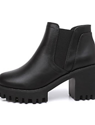 abordables -Femme Chaussures Polyuréthane Automne Hiver Confort Bottes Talon Bottier Bout fermé Bottine / Demi Botte pour Noir