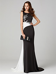 cheap -Mermaid / Trumpet Jewel Neck Sweep / Brush Train Jersey Cocktail Party / Formal Evening / Black Tie Gala / Holiday Dress with Beading