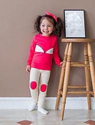 abordables -Vêtements de nuit Fille Motif Animal Polyester Manches Longues Dessin Animé Rouge