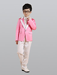 cheap -Pearl Pink Polyester Ring Bearer Suit - Six-piece Suit Includes  Jacket Waist cummerbund Vest Shirt Pants Bow Tie