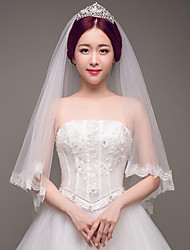 cheap -Two-tier Lace Applique Edge Bridal Wedding Wedding Veil Fingertip Veils 53 Embroidery Lace Lace Tulle