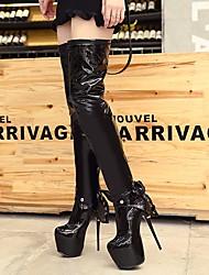 Недорогие -Для женщин Обувь Лакированная кожа Зима Осень Модная обувь Ботинки Платформа Круглый носок Сапоги выше колена для Повседневные Черный