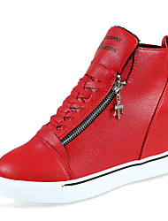 Women's Sneakers Comfort PU Outdoor Athletic Wedge Heel Zipper Lace-up Black Red White Walking