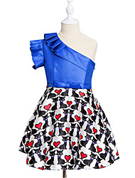 cheap -Girl's Casual/Daily Print Dress,Cotton Polyester Spring, Fall, Winter, Summer Sleeveless Simple Blue Red