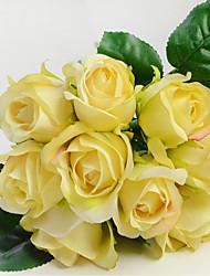 9 ブランチ プラスチック バラ テーブルトップフラワー 人工花