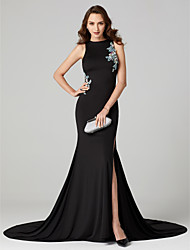 cheap -Mermaid / Trumpet Jewel Neck Sweep / Brush Train Jersey Formal Evening Dress with Beading Pattern / Print Split Front by TS Couture®