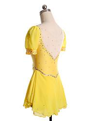 baratos -Vestidos para Patinação Artística Mulheres Para Meninas Patinação no Gelo Vestidos Amarelo Vermelho Elastano Pedrarias Espetáculo Roupa
