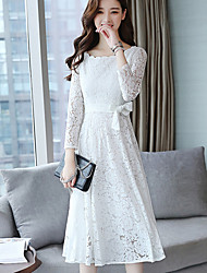 Women's Daily Work Vintage Casual A Line Dress,Solid Round Neck Midi Long Sleeve Polyester Spring Fall High Waist Inelastic Thin
