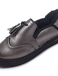 Недорогие -Жен. Обувь Полиуретан Осень / Зима Удобная обувь / Модная обувь Мокасины и Свитер На плоской подошве Круглый носок Ботинки Черный /