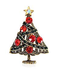 baratos -Mulheres Broches Zircônia cúbica Metálico Clássico Boêmio Zircão Liga Árvore da Vida Vermelho Jóias Para Natal Baile de Formatura
