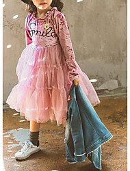 Girl's Casual/Daily Solid Dress,Polyester Winter Fall Long Sleeves Simple Blushing Pink Gray