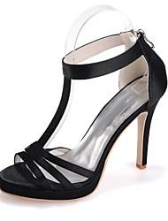 abordables -Femme Chaussures Satin Printemps / Eté Escarpin Basique Sandales Talon Aiguille Bout ouvert Rouge / Champagne / Ivoire