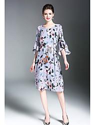Feminino Evasê Vestido,Casual Boho Floral Estampado Decote Redondo Altura dos Joelhos Mangas 3/4 Poliéster Verão Cintura Média