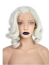 Недорогие -Синтетические кружевные передние парики Волнистый / Волнистые Kardashian Стиль Стрижка боб Лента спереди Парик Блондинка Белый Искусственные волосы Жен. Природные волосы / Боковая часть