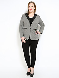 cheap -Cute Ann/Really Love Women's Vintage Street chic Plus Size Faux Leather Blazer - Color Block