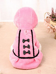 cheap -Cat Dog Dress Dog Clothes Dresses&Skirts Casual/Daily Bowknot Pink Black Costume For Pets