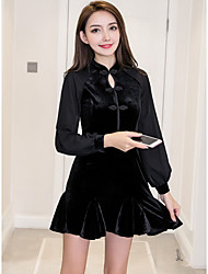 cheap -Women's Party Club Sexy Chinoiserie Sheath Little Black Dress,Solid Stand Mini Long Sleeve Acrylic Polyester All Season Medium Waist