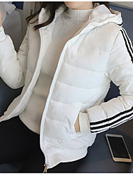 cheap -Women's Short Padded Coat,Casual Daily Solid-Cotton Polyester Long Sleeve