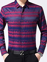 Masculino Camisa Social Casual Trabalho Activo Primavera Outono,Listrado Estampa Colorida Algodão Colarinho de Camisa Manga Comprida Média