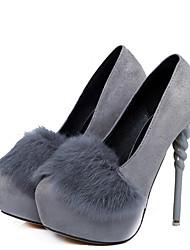 preiswerte -Damen Schuhe Feder / Pelz Kunstleder Frühling Herbst Pumps High Heels Stöckelabsatz Spitze Zehe für Hochzeit Party & Festivität Schwarz