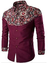 abordables -Hombre Jacquard - Camisa, Cuello Inglés Un Color A Cuadros Algodón