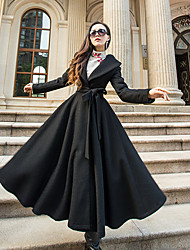 Недорогие -Для женщин На выход Зима Пальто Рубашечный воротник,Уличный стиль Однотонный Длинная Длинные рукава,Шерсть Полиэстер