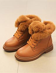 Para Meninas sapatos Pele Inverno Outono Botas de Neve Botas Botas Curtas / Ankle Mocassim para Casual Preto Amarelo