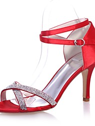 abordables -Femme Chaussures Satin Printemps / Eté Escarpin Basique Sandales Talon Aiguille Bout ouvert Strass Rouge / Bleu / Ivoire