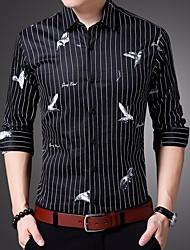 Masculino Camisa Social Casual Activo Outono,Listrado Algodão Colarinho de Camisa Manga Comprida Média