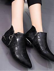 Feminino Sapatos Couro Ecológico Inverno Outono Curta/Ankle Botas Salto Robusto Dedo Apontado Botas Curtas / Ankle para Casual Preto