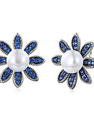economico -Per donna Orecchini a bottone Sapphire sintetico Perle finte Semplice Di tendenza Elegant Rame Vetro Fiore decorativo Gioielli Matrimonio