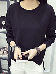 Women's Petite To-Go Simple Sweatshirt Solid Round Neck Without Lining Stretchy Polyester Long Sleeve Fall
