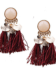 cheap -Women's Resin Tassel / Chandelier Drop Earrings - Resin Tassel, Bohemian, European Red / Green / Light Coffee For Party