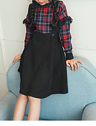 baratos -Menina de Vestido Casual Xadrez Inverno Outono Poliéster Manga Longa Simples Vinho