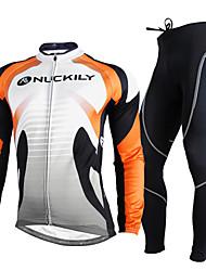 Nuckily Fahrradtrikots mit Fahrradhosen Herrn Langarm Fahhrad Kleidungs-Sets warm halten UV-resistant Atmungsaktiv Reflexstreiffen