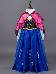 cheap -Princess Fairytale Anna Dress Cloak Kid's Christmas Masquerade Birthday Festival / Holiday Halloween Costumes Blue Color Block Dresses