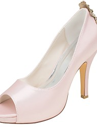 cheap -Women's Shoes Stretch Satin Spring Summer Basic Pump Wedding Shoes Stiletto Heel Peep Toe Crystal Side-Draped for Party & Evening Dress
