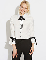 cheap -Women's Daily Casual Fall Blouse,Solid Peter Pan Collar Long Sleeves Spandex Medium
