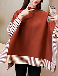 cheap -Women's Casual/Daily Simple Regular Pullover,Solid Round Neck Long Sleeves Polyester Winter Opaque strenchy
