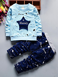 cheap -Boys' Print Letter Clothing Set,Cotton Spring Fall Long Sleeve Street chic Red Yellow Light Blue
