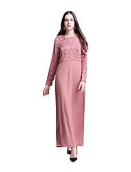 baratos -Etnico e Religioso Vestido árabe / Abaya / Vestido Kaftan Mulheres Festival / Celebração Trajes da Noite das Bruxas Azul / Rosa claro / Tinta Azul Rendas Vestidos / Estilo Étnico / De Renda
