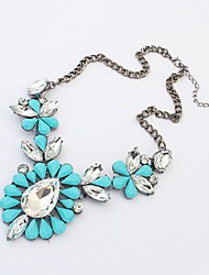 cheap -Women's Oversized Drop Turquoise Crystal Crystal Turquoise Y-Necklace  -  Vintage Oversized Rose Red Light Blue Necklace For Daily Date