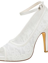 cheap -Women's Shoes Stretch Satin Summer Basic Pump Wedding Shoes Stiletto Heel Peep Toe Buckle for Party & Evening Dress Ivory