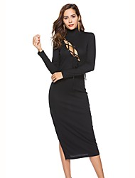 cheap -Women's Party Club Sexy Street chic Sheath Dress,Solid Turtleneck Midi Long Sleeve Cotton Polyester Elastane Spring Fall Mid Rise High