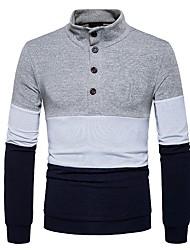 economico -Standard Pullover Da uomo-Quotidiano Casual Monocolore A quadri Colletto alla coreana Manica lunga Poliestere Elastene Inverno Autunno
